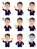 A businessman wearing eyeglasses, Set of 9 types of poses and facial expression, upper body. The image of A businessman wearing eyeglasses, Set of 9 types of royalty free illustration