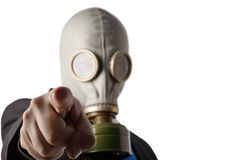 Businessman wearing a gas mask Royalty Free Stock Images