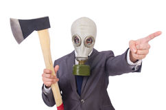 Businessman wearing gas mask Stock Photos