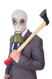 Businessman wearing gas mask Royalty Free Stock Photography