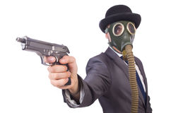 Businessman wearing gas mask Royalty Free Stock Images
