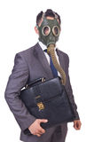 Businessman wearing gas mask. Isolated on white Royalty Free Stock Photo
