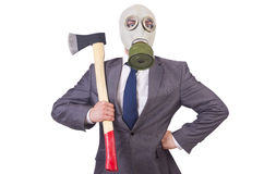 Businessman wearing gas mask. Isolated on white Royalty Free Stock Images