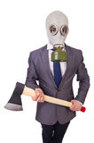 Businessman wearing gas mask Royalty Free Stock Photos