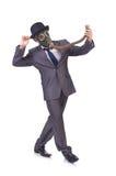 Businessman wearing gas mask. Isolated on white Stock Photo