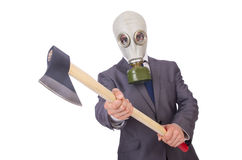 Businessman wearing gas mask Royalty Free Stock Image