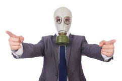 Businessman wearing gas mask. Isolated on white Stock Photos