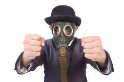 Businessman wearing gas mask Stock Image