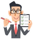 A Businessman wearing glasses have a checklist and pen royalty free illustration