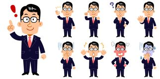 A businessman wearing glasses, Set of poses and facial expressions stock illustration