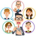 Businessman wearing glasses troubled with SNS vector illustration