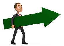 Businessman wearing a green arrow. 3d businessman wearing a green arrow Stock Photography