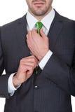 Businessman wearing green tie Stock Photos