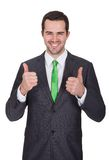Businessman wearing green tie Royalty Free Stock Photos