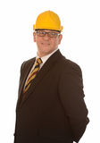 Businessman wearing hard hat Stock Photos