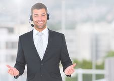 Businessman wearing a headset and smiling Stock Photos