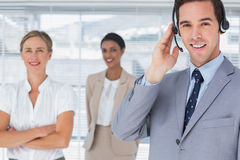 Businessman wearing headset Royalty Free Stock Photos