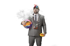 Businessman wearing holiday gear with cloud Stock Photos