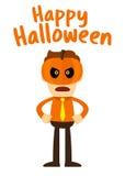 Businessman Wearing Jack lantern Halloween Mask Stock Photo