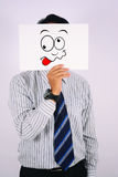 Businessman Wearing mad Face Mask. Young Businessman Wearing mad Face Mask Royalty Free Stock Photos