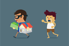 Businessman wearing mask holding home and money of a man. Illustration about cheated and seize asset Royalty Free Stock Images