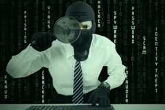 Businessman wearing mask looking for information Stock Photography