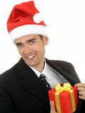 Businessman wearing a santa hat Royalty Free Stock Photo