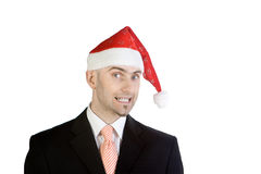 Businessman Wearing Santa Hat Stock Photo