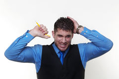 Businessman wearing a shirt and waist coat Royalty Free Stock Photos