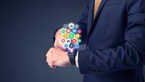 Businessman wearing smartwatch. stock photo