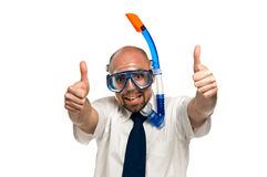 Businessman wearing a snorkel and mask isolated on a white background Stock Photo
