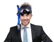 Businessman wearing suit and goggles royalty free stock photography