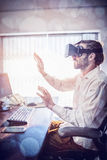 Businessman wearing virtual glasses. In a office Stock Image