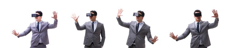 The businessman wearing virtual reality vr glasses isolated on white stock images