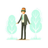 Businessman wearing VR headset with forest tree projection, technology augmented reality vector Illustration Stock Photos