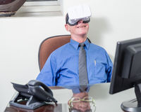 Businessman wearing VR headset, happy Royalty Free Stock Photography