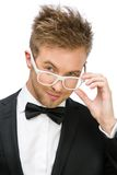 Businessman wearing white frame glasses Royalty Free Stock Images