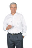 Businessman Wearing White Shirt Holding Glasses Royalty Free Stock Images