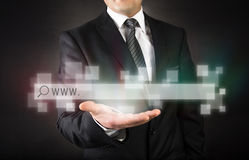 Businessman with web page concept Royalty Free Stock Photos