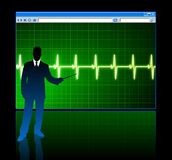 Businessman with web page internet background Stock Image