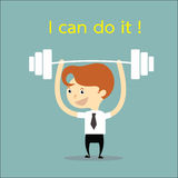 Businessman weight lifting with word I can do it vector. Businessman weight lifting with word I can do it! vector Royalty Free Stock Images