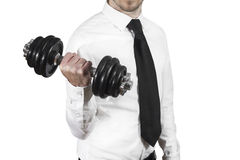 Businessman weightlifting Royalty Free Stock Photos