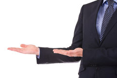 Business man with welcoming gesture. Royalty Free Stock Photo