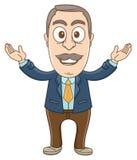 Businessman - Welcoming hand. Vector Illustration of a businessman open his hands up for welcoming stock illustration