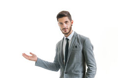 Businessman welcoming someone Royalty Free Stock Photo