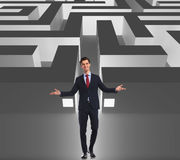 Businessman welcoming you to the business maze. Get in or get out Stock Photos