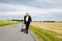 Businessman in Wheat Field Royalty Free Stock Photo