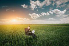 Businessman in a wheat field Royalty Free Stock Photo