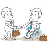 Businessman in wheel chair handshaking Royalty Free Stock Photography