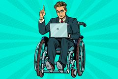 Businessman in wheelchair with laptop stock illustration